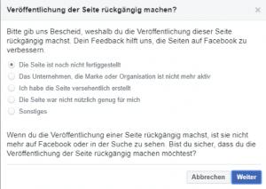 Facebook Unternehmensprofil